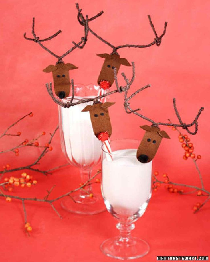 Affordable Christmas Crafts | Martha Stewart Living - Turning a plain candy cane into a cute reindeer is a simple Good Thing to get you and your family in the holiday spirit. So cute and so economical -- you can make multiple candy-cane reindeer for less than $10.