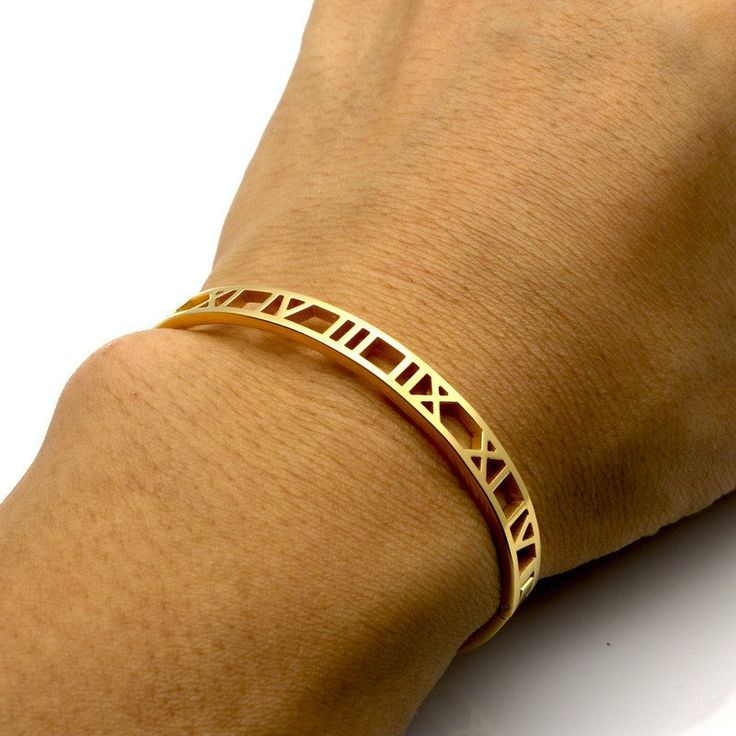 Like something found within an ancient roman treasure box this elegant roman empress bangle begs to delight. Simple and sleek, the gorgeous design features edgy roman numeral cuts set. These beautiful