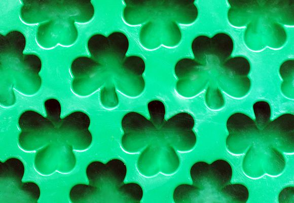 Green Milk with Shamrock Ice Cubes