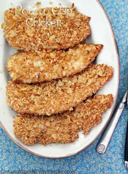 Oven-Fried Potato Chip Chicken: I'm going to try it with just potato chip pieces as the coating.