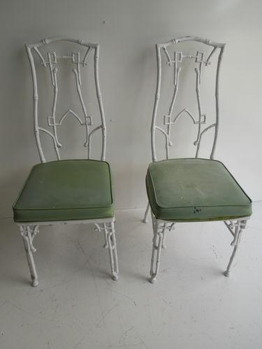 Pair Cast Iron Metal Dining Patio Chairs Kessler Greek Key