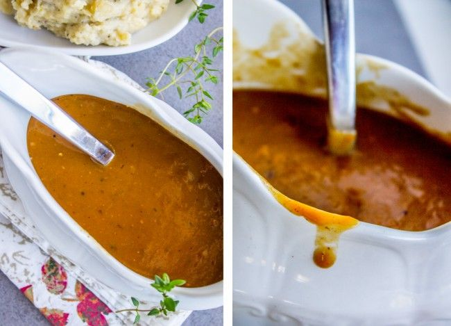 Make Ahead Turkey Gravy for Thanksgiving - The Food Charlatan: use turkey wings and whatever other parts you can find (neck, thighs, whatever), roast them, boil them, and then make a gravy from those drippings. Then you stick it in the freezer and forget about it until a couple hours before you want to eat.