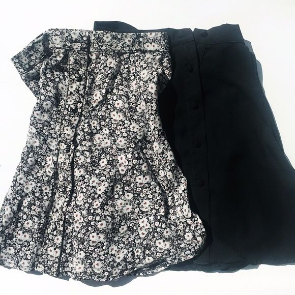 2 Brandy Melville Button Skirts Selling 2 Brandy Melville skirts. One is floral with buttons. One is black with buttons. The black one has a John Galt label but has a Brandy Melville price tag. The floral one has both a Brandy label and Brandy price tag. Both purchased at Brandy Melville store in NYC. One size but best for someone who is a size small or xs. Brand new skirts. Comes with free Brandy Melville Stickers! :) Brandy Melville Skirts Mini