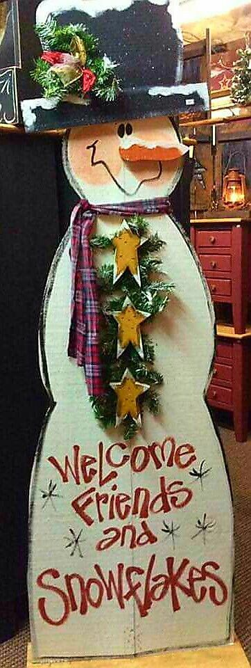 4 foot Wood Snowman. Winter Snowman Wood craft