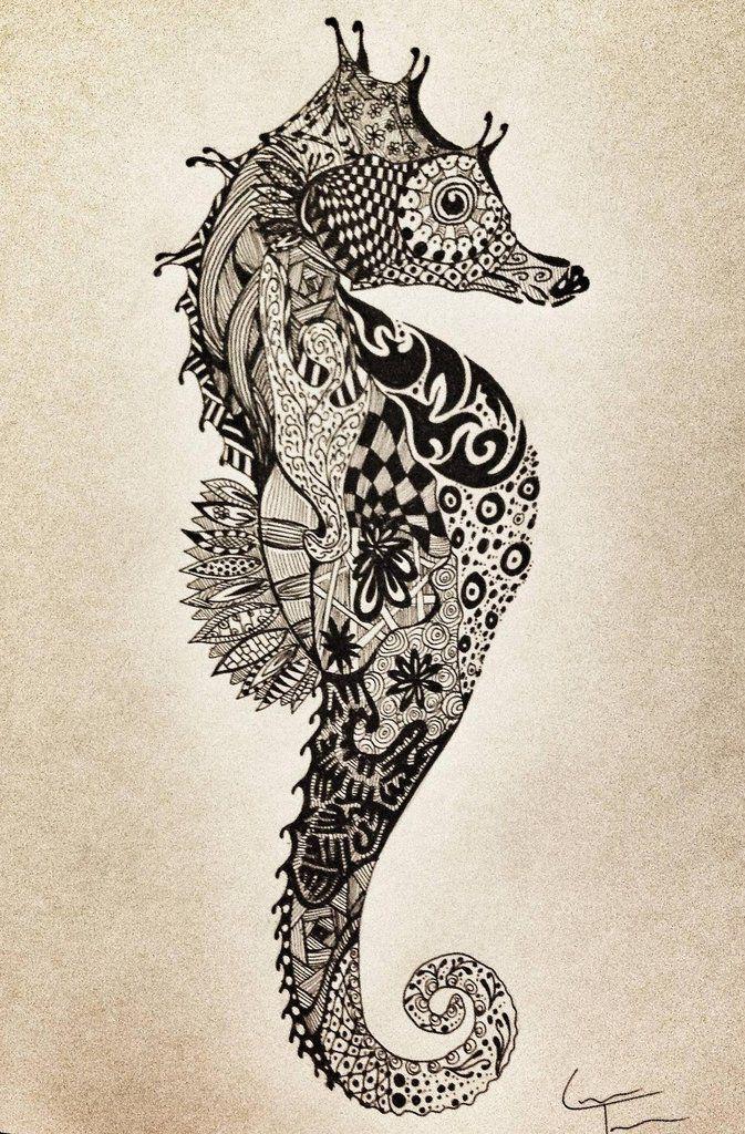 adoro cavalos marinhos / Seahorse zentangle