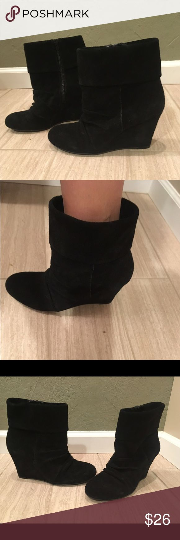 EUC-Women's INC Black Ankle Wedge Suede Boots-7.5 EUC-Women's INC International Concepts Black Suede Wedge Boots-Size 7.5.  Only worn a few times.  Cute booties with skinny jeans or dresses!  Item comes from a smoke free and pet free home! Priced to Sell! Make REASONABLE OFFERS! INC International Concepts Shoes Ankle Boots & Booties