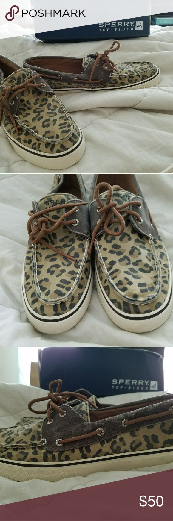 Leopard Sperry Top Siders New In Box! Tan brown and black leopard print Sperrys  super cute and brand new! Sperry Top-Sider Shoes
