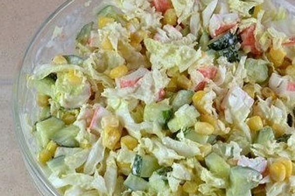 Salad of crab sticks