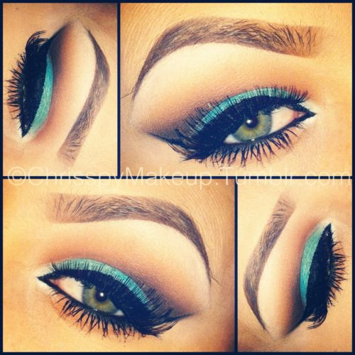 Aquatics: Make Up, Cats Eyes, Color Combos, Teal, Green Eyes, Eyemakeup, Eyebrows, Blue Eyeshadows, Eyes Makeup