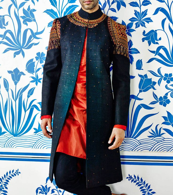 Blue Hand Embroidered Sherwani With Silk Kurta & Cotton Linen Trousers http://dealsheel.com