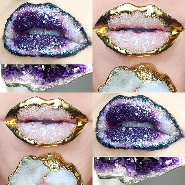 This maneuver should only be endeavored by professional makeup artists — or people who aren't afraid of ingesting large amounts of glitter. Makeup artist Johannah Adams (Instagram: beyou.byjoh) has created some absolutely unbelievable lip art, which gives the illusion of crystallized lipstick. The effect is extremely beautiful — but also highly impractical, TBH.