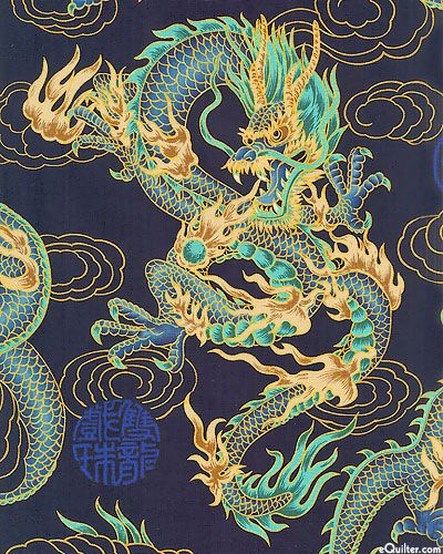 Elemental Dragon - Navy/Gold.  A very dramatic dragon print fabric!
