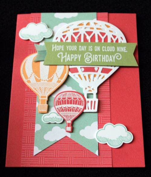 Stampin Up Occasions Catalogue 2017 On Stage stamping presentation sample by SU presenters using Lift me Up stamp set and Up and Away Thinlits. Click through for 9 more OnStage samples.