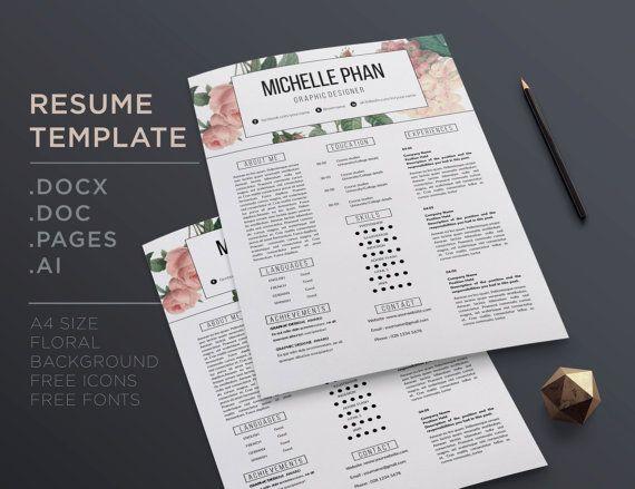 26 best Floral CV / resume templates images on Pinterest | Resume ...