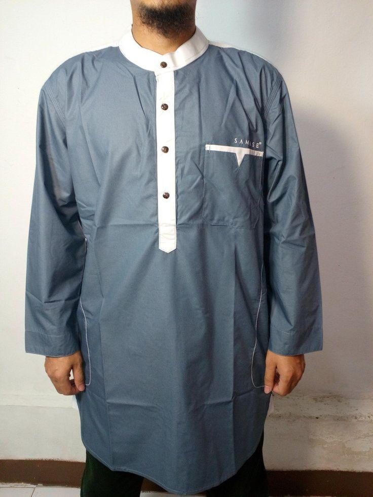 Baju Gamis Pria Samase – Model Baju Gamis Muslim Pakistan Modern – Warna Abu