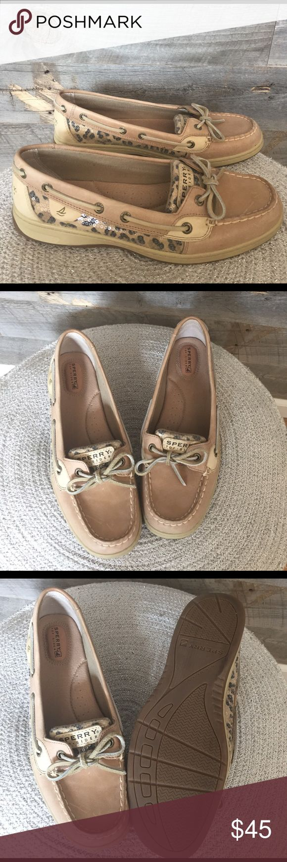 """Sperry Top-Sider Angelfish Boat Shoe w/ leopard Sperry Top-Sider feminine boat shoe with sequin, leopard print detail.                                                                                 Brass grommets with Sperry engraved details.                     Molded rubber sole includes 3/4"""" flat heel.                         Worn once in home. Smoke-free. Sperry Top-Sider Shoes Flats & Loafers"""