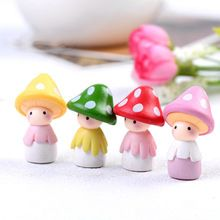 4 stks Kawaii Cartoon Paddestoel Hars Ambachtelijke mix resina cabochons Home Decor Micro Landschap fairy tuin miniaturen accessoires(China (Mainland))