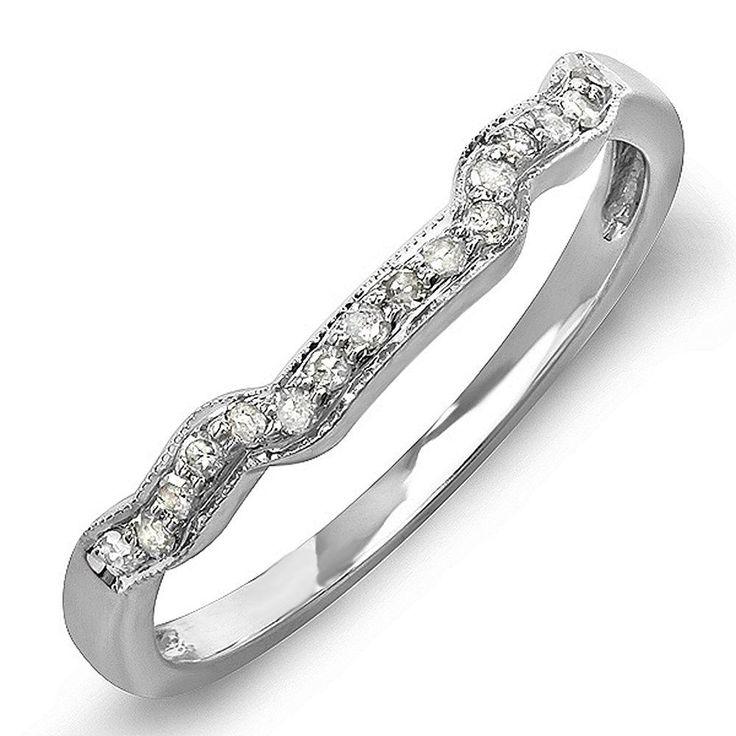 0.15 Carat ctw 14k White Gold Round Diamond Ladies Anniversary Wedding Ring Band #DazzlingRockCollection
