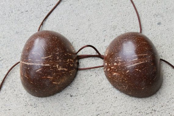 SALE- discount- Small crack Coconut bra-  extra large size, coco on Etsy, $5.00