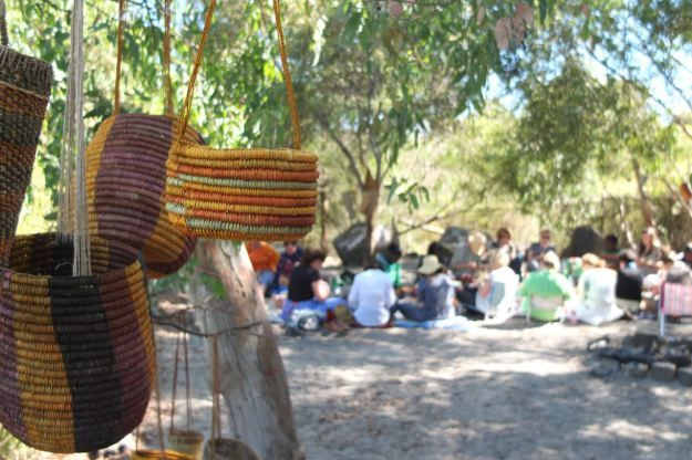 Pinned from their Pinterest invitation to 'Pin it'. Arnhem Land master Weavers in Melbourne. Always a two way learning experience for everyone involved.