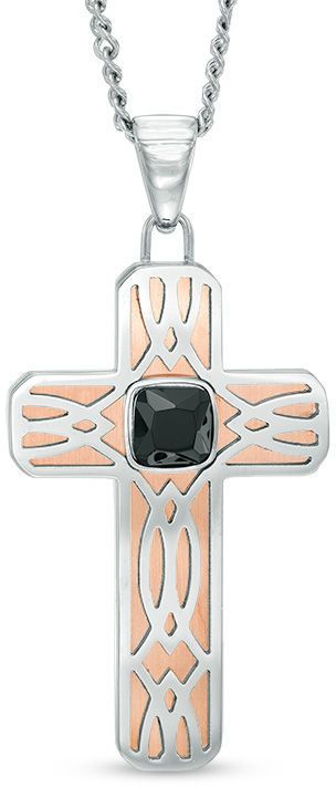 Zales Men's Cushion-Cut Lab-Created Black Spinel Tribal-Style Cross Pendant in Two-Tone Stainless Steel - 24""