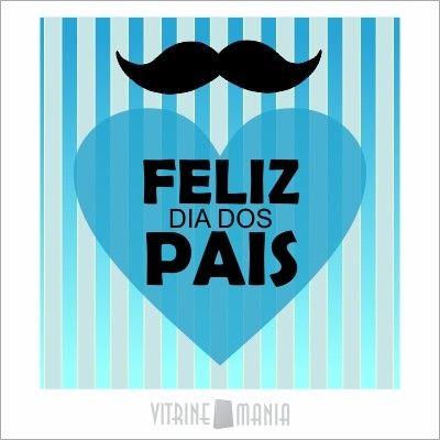 Adesivo de Vitrine Dia dos Pais Feliz Dia dos Pais Azul Bigode
