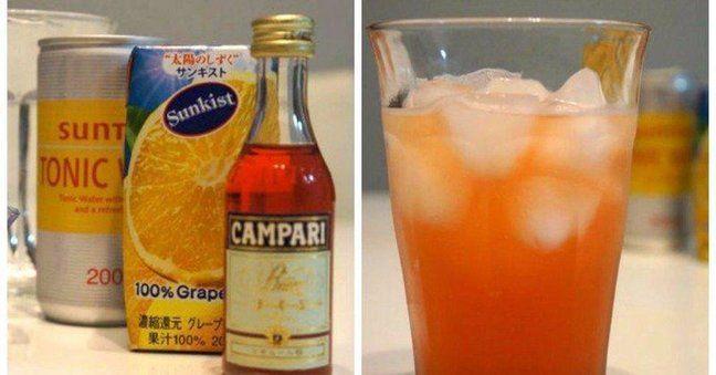 【スプモーニ】  味:カンパリの独特な風味をトニックウォーターとグレープフルーツジュースで飲みやすく仕上げたカクテル  シェイカー:不要  材料:  ・カンパリ  ・グレープフルーツジュース  ・トニックウォーター  ・氷