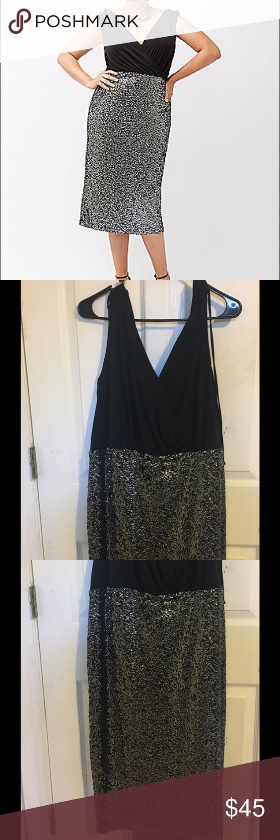 PRICE REDUCED Lane Bryant black sequin midi dress Never worn lane