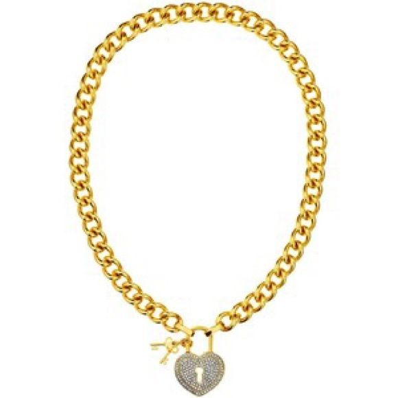 Lock and key heart necklace Juicy couture gold chain heart necklace with key charms. All sparkles intact. Absolutely no flaws. Comes with juicy couture box. Juicy Couture Jewelry Necklaces