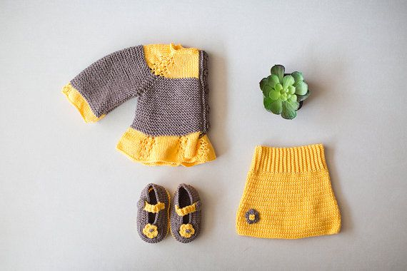 Knitted Baby Clothes, 4 Pcs Set, Yellow Baby Skirt, Baby Handband, Baby sweater, Crochet Loafers