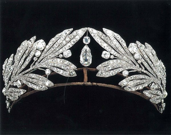 Princess Marie Bonaparte, now Princess George of Greece. Cartier c1907.  Fresh fruit on a branch of olive with a large diamond drop in the center symbolizing bountiful blessings.   This tiara can be work with or without the center diamond. Pin without the center drop in Tiaras I. (Albion Art Collection)