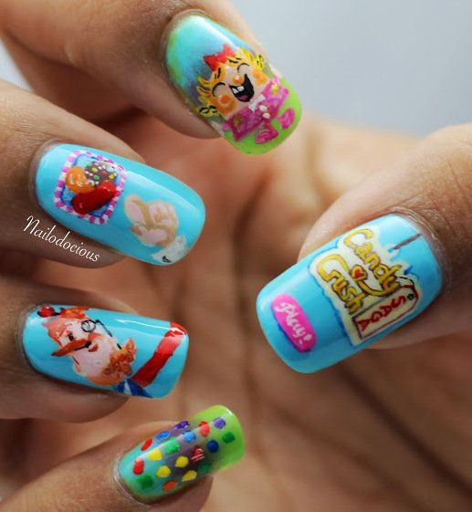 20 Amazing Nail Art Designs Inspired By Games We Play: Candy Crush Nails #candycrush #nailart