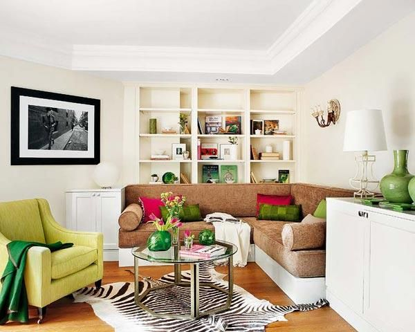 bright room colors for home decorating, modern interiors with bright walls, room furniture and decor accessories