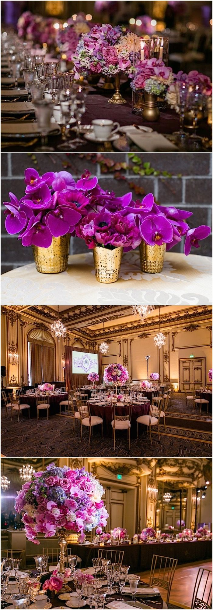 Gorgeous wedding reception flower idea; photo: Arrowood Photography