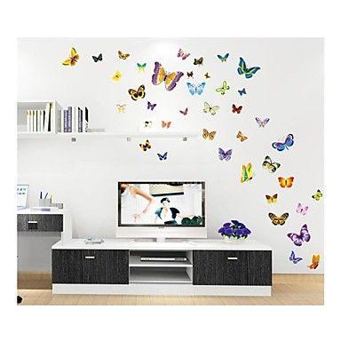 seinä tarroja Seinätarrat, tyyli söpö sarjakuva väri perhonen pvc seinä tarroja – EUR € 13.63