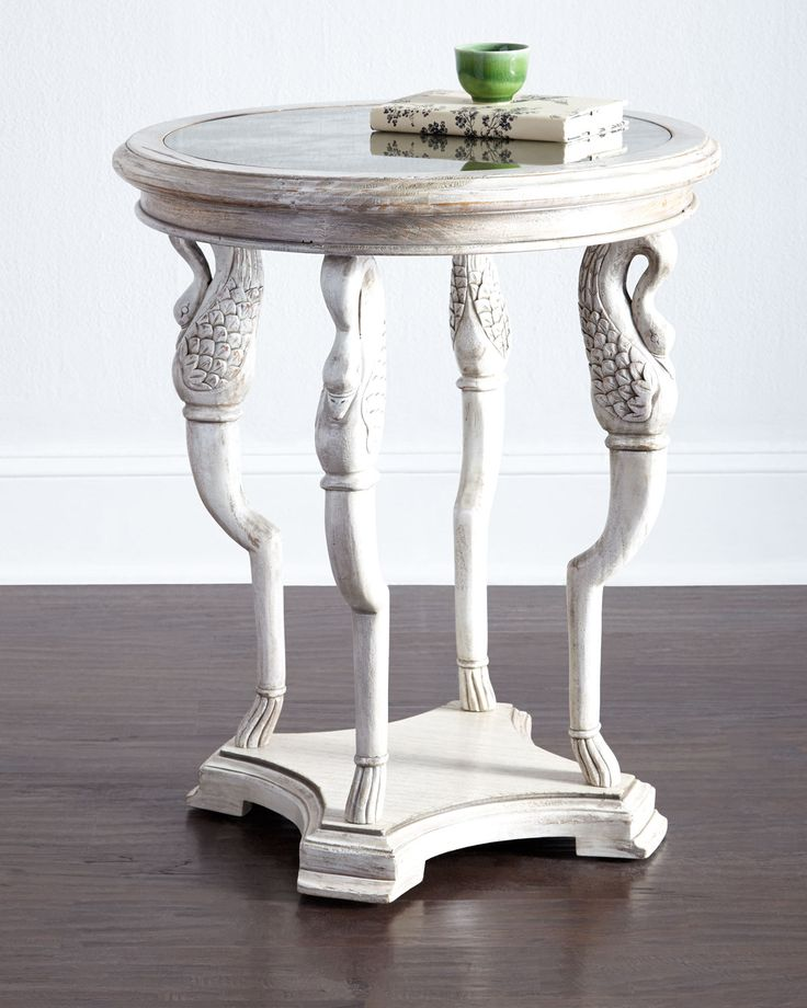 Lorin Mirror Top End Table, Ivory/Antique Mir