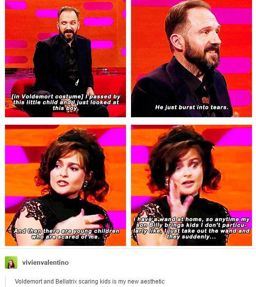 Harry Potter Voldemort Ralph fiennes and Bellatrix lestrange Helena Bonham Carter scaring little kids