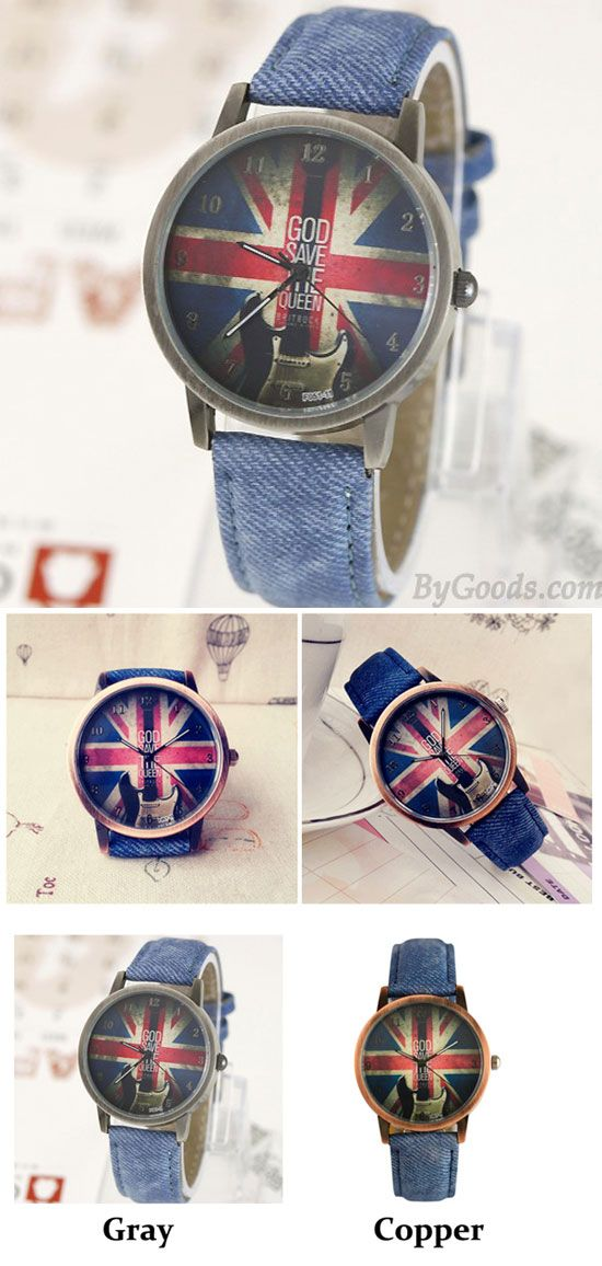 UK Flag Denim Pattern Strap Vintage Watch for big sale ! #denim #strap #vintage #watch #UK #flag #women