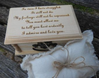 Pride & Prejudice Ring Box, Pillow. CHOOSE YOUR PILLOW Style! Mr. Darcy Proposal, Wedding Accessories. Ring Bearer, Bridal. Chest.