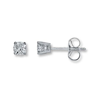 14K White Gold 1/3 Carat t.w. Diamond Solitaire Earrings