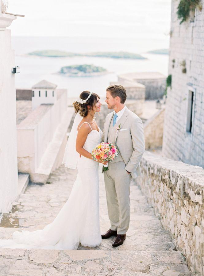 Scenic Croatian destination wedding: http://www.stylemepretty.com/destination-weddings/2015/11/05/dreamy-peach-destination-wedding-at-hvar-in-croatia/ | Photography: Kristina Malmqvist- http://www.kristinamalmqvist.com/