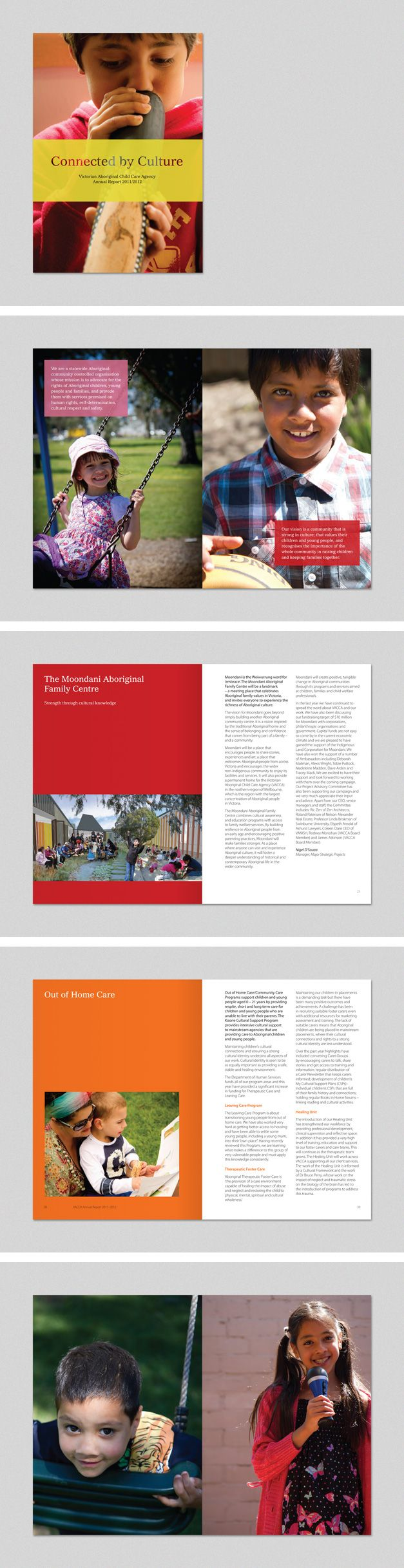 Victorian Aboriginal Child Care Agency Annual Report 2012 www.fenton.com.au #communication #PR #branding #graphicdesign #annualreport