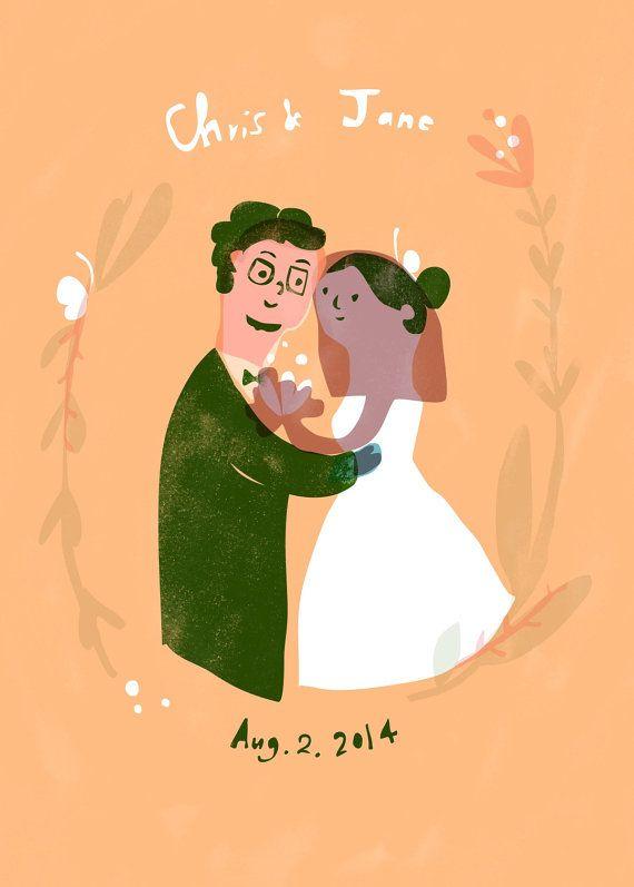 Custom Wedding Portrait Illustration by Sansu- digital file