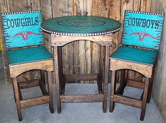 Amaze your company w/ your Texas Longhorn Bar Table and Stools! This set is very western w/ the Texas Longhorn & barbed wire table & Cowboys/Cowgirls stools