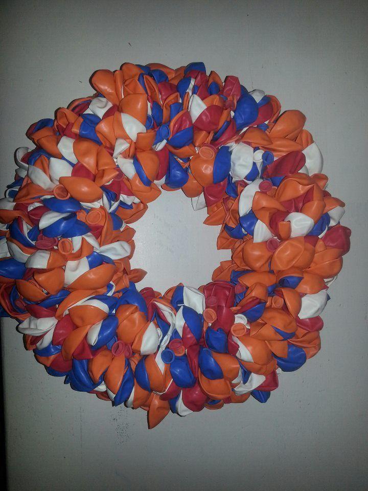 Ballonnen krans voor koningsdag of EK en WK