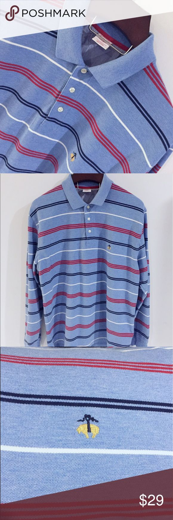EUC Brooks Brothers long sleeve Polo Shirt size XL EXCELLENT used and cared for condition. Brooks Brothers long sleeve polo shirt. Med blue (almost Chambray in color) shirt with red, white, and navy blue stripes. Collared shirt. Three buttons. Cuffed sleeves. Size XL. MINT condition with no fading for visible damage or stains. Brooks Brothers Shirts Polos