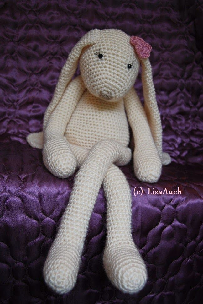Large crochet toy bunny See blue bunny below for pattern ...