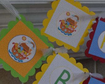 Noahs Ark Banner - Welcome Baby Banner - 1st Birthday Banner - Noah's Ark Banner - Birthday Banner - Christening Banner - Primary Colors