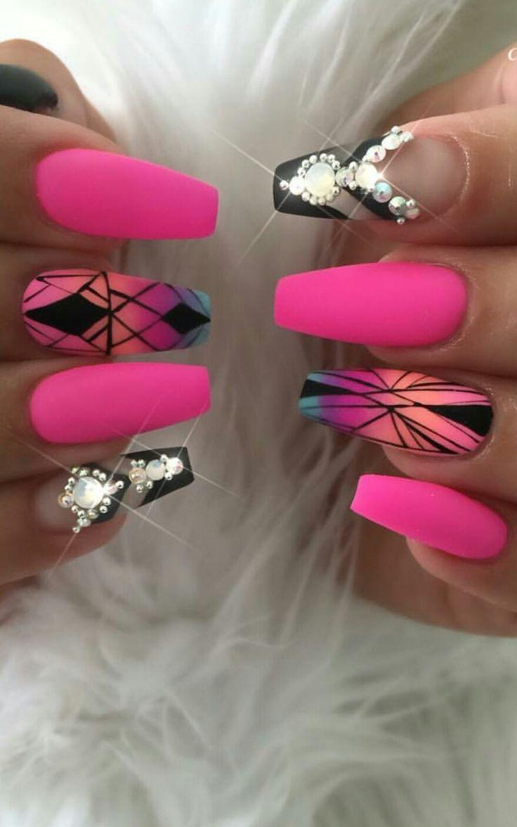 Pink matte nails design nailart