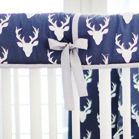 Deer Crib Bedding | Navy Crib Bedding | Woodland Baby Bedding
